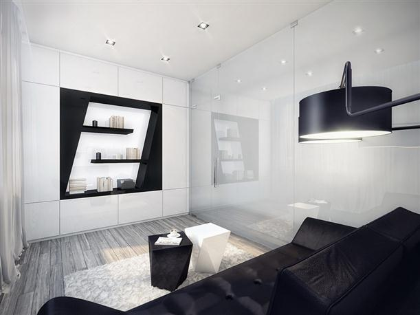 Sitting area Unique Black and White Apartment Interior Design
