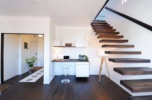 Stairs and working room at Apartment Design with Fantastic Interior in Stockholm