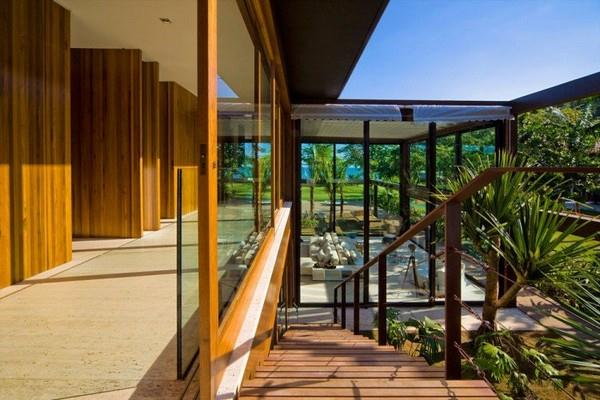 Stair at Natural Residence Design with Wooden and Large Glazing Window