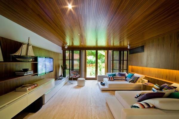 Home Theater at Natural Residence Design with Wooden and Large Glazing Window