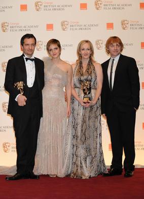Harry Potter producer David Heyman, star Emma Watson, creator JK Rowling and star Rupert Grint. (Pic: BAFTA/Richard Kendal)