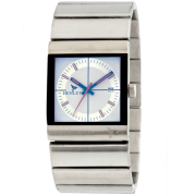 Henleys Mens Silver Link White Dial Bracelet Watch