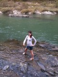 Sarah, 10 seconds before disappointingly not falling into the river with her clothes on.