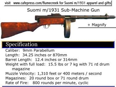 m/1931 M31 Suomi submachine sub-machine gun Finland konepistooli