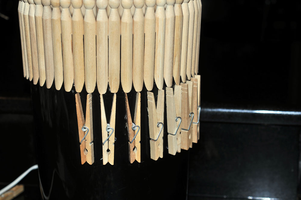 lining up the first row of clip clothes pins