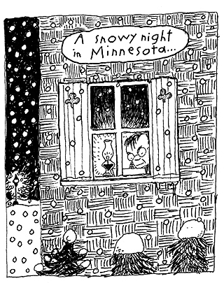 """The first panel is an outdoor scene, where you can see in to a cabin. """"A Snowy Night in Minnesota"""""""