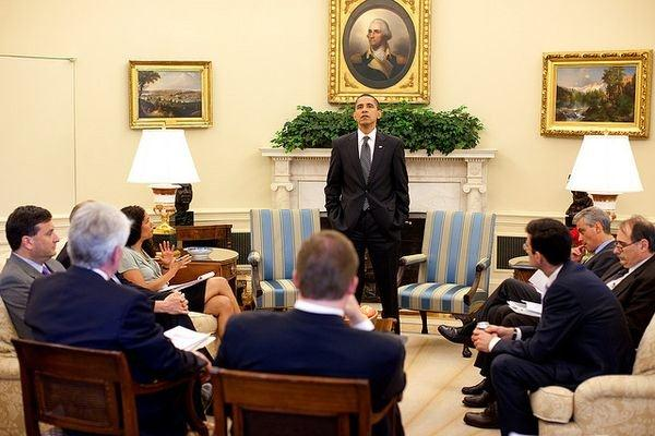 Pete Souza / White House (Obama addresses his White House staff, file)