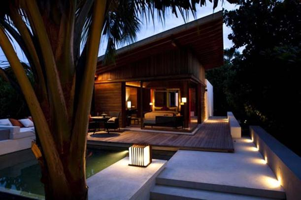 Night view of Natural Contemporary Resort Design Alila Villas Hadahaa Maldives