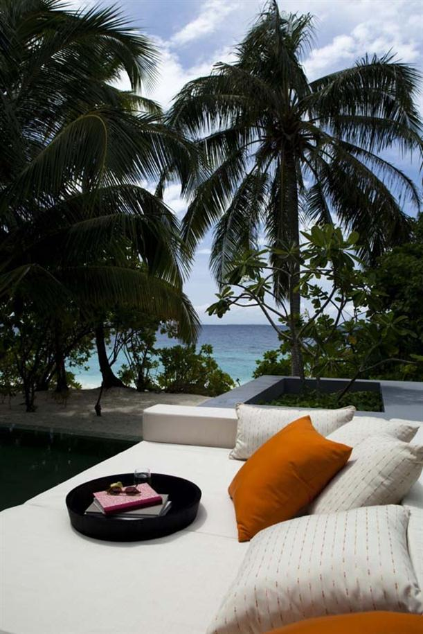 Outdoor Sofaa at Natural Contemporary Resort Design Alila Villas Hadahaa Maldives