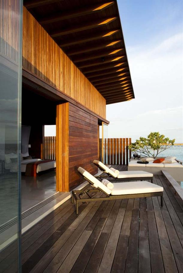 Lounger Chair at Natural Contemporary Resort Design Alila Villas Hadahaa Maldives