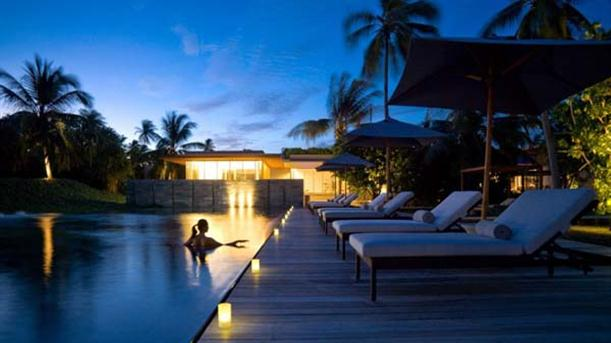 Swimming Pool at Natural Contemporary Resort Design Alila Villas Hadahaa Maldives