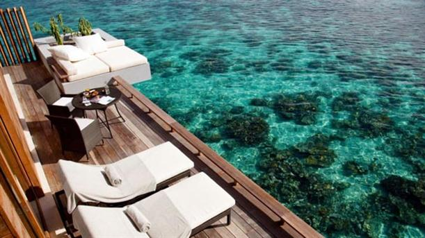 Outdoor Deck at Natural Contemporary Resort Design Alila Villas Hadahaa Maldives
