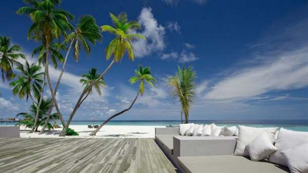 Outdoor Furniture at Natural Contemporary Resort Design Alila Villas Hadahaa Maldives