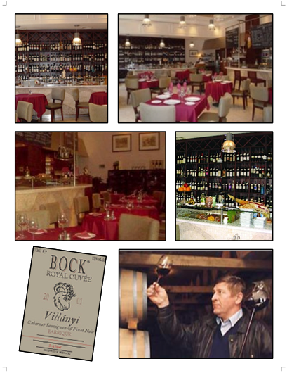 Bock Bistro in Budapest featuring Bock Villány wines made by József Bock from Hungary