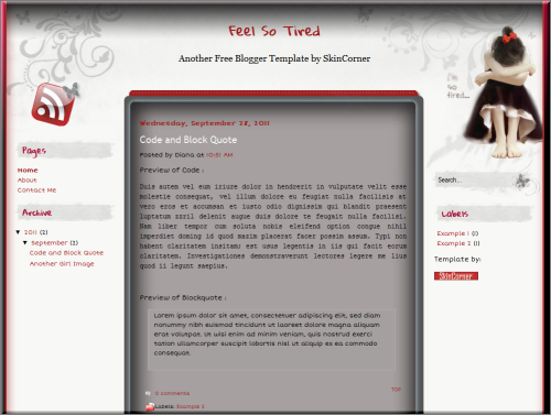 Feel So Tired blogger template