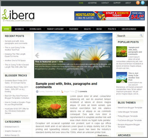 Libera blogger template