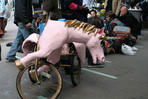 A pink unicorn tricycle, Liberty Plaza, NYC, 4 October 2011