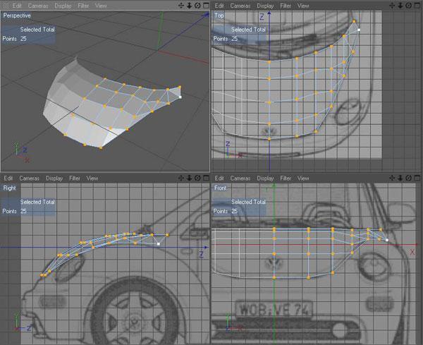Modeling a car using blueprints