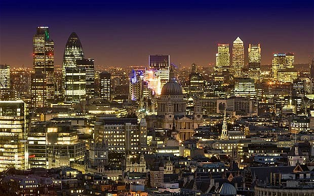 London Skyline at dusk. Mazars executive fired after applying for top job sues for £1m