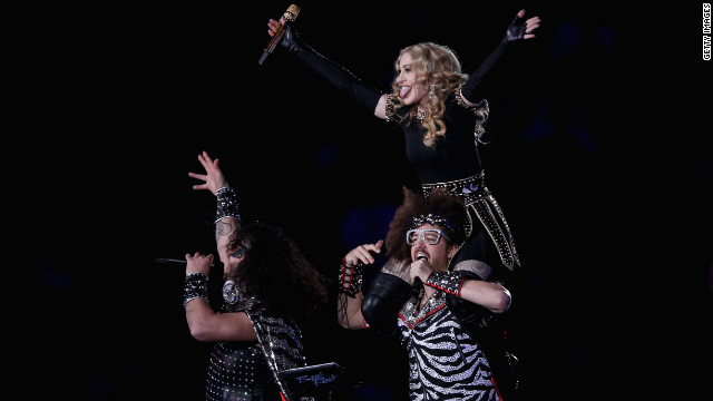<br/>Madonna performs with Redfoo and Sky Blu of LMFAO, the twosome behind the chart-topping single &quot;Sexy and I Know It.&quot;