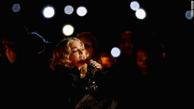 <br/>Madonna performs during the halftime show of Super Bowl XLVI at Lucas Oil Stadium in Indianapolis on Sunday, February 5.