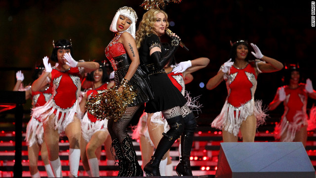 <br/>Nicki Minaj and M.I.A. (not pictured) join Madonna on stage dressed as cheerleaders. The pair are featured on &quot;Give Me All Your Luvin,&quot; the first single on Madonna's forthcoming &quot;M.D.N.A.&quot; It's due out in March.