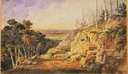 Charles Rodius (1802-1860), Convicts building a road over the Blue Mountains, NSW, 1833.