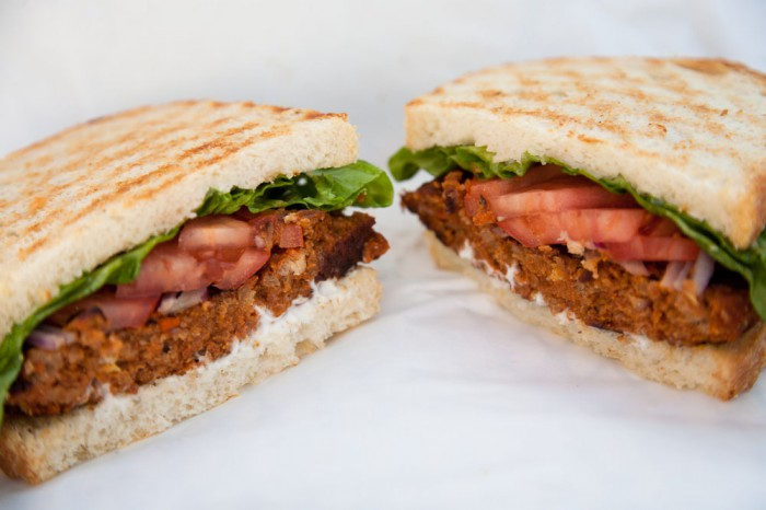 Vegan meatloaf sandwich