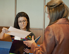 Maritza Zavala Lopez, a Penn State junior, offered her resume to Bayada Pediatrics Division Director Josie Kozak during the People-to-People Career Fair held on Feb. 28 at the HUB-Robeson Center on the University Park campus. The event was designed to help Penn State students connect with a variety internship and employment in wellness, service and recreation industries.