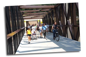 IMAGE: Hikers and bikers on the new bridge.