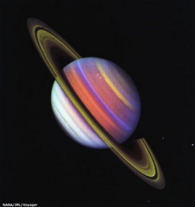 Image of Saturn captured by Voyager 2