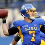 SJSU senior quarterback Matt Faulkner rears back to throw in 32-29 loss against the Idaho Vandals on Nov. 5 at Spartan Stadium