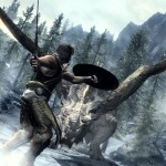 A battle with a dragon in Skyrim