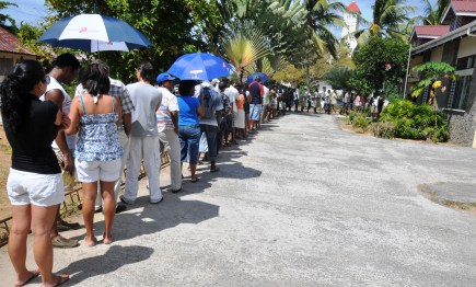 People queuing up to vote at Cascade. The observers have said that the Seychellois are to be congratulated for the harmony and high turnout at the polls