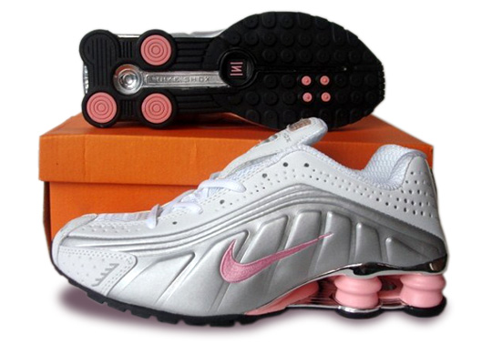 Nike Women's Shox R4 Shoes Silver Pink White