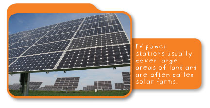 PV power stations usually cover large areas of land and are often called solar farms.