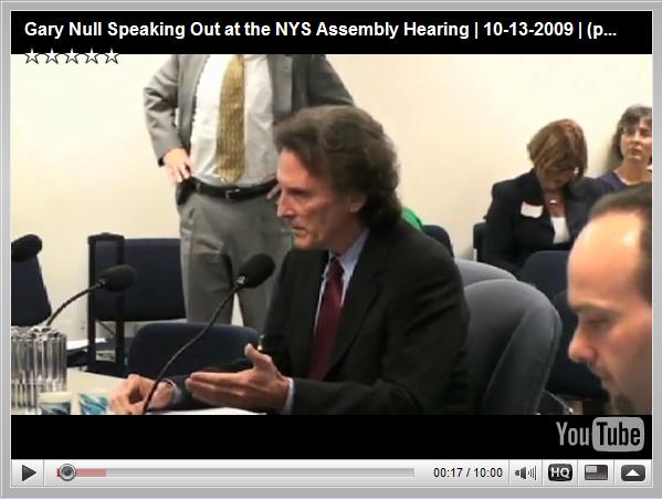 Gary Null Speaking Out at the NYS Assembly Hearing   10-13-2009   part 1 of 3