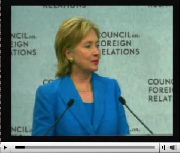 CFR - A Conversation with U.S. Secretary of State Hillary Rodham Clinton July 15, 2009  Also at http://link.brightcove.com/services/player/bcpid1857622883?bctid=29636586001