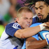 Gareth Anscombe and Ma'a Nonu combine to tackle Akona Ndungane. <i>Gallo</i>