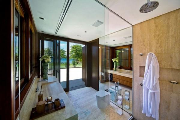 Bathroom at Natural Residence Design with Wooden and Large Glazing Window