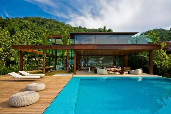 Pool at Natural Residence Design with Wooden and Large Glazing Window