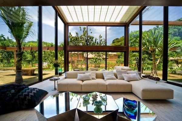 Main room at Natural Residence Design with Wooden and Large Glazing Window