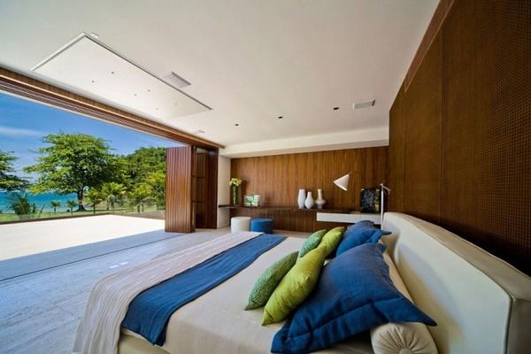 Master Bedroom at Natural Residence Design with Wooden and Large Glazing Window
