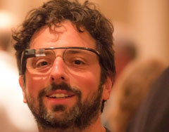 Google's Founder Wearing Google Glasses