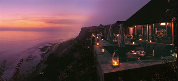 sunset time at the restaurant in Luxury and Natural Bulgari Resort in Bali