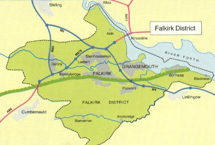 Map of Antonine Wall route in Falkirk area