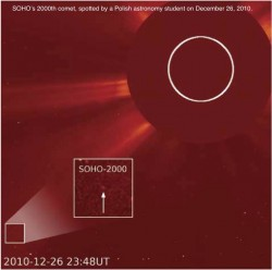 SOHO's 2000th comet, spotted by a Polish astronomy student on December 26, 2010. (Photo: NRL)