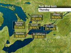 Thursday's peak wind gusts across southern Ontario