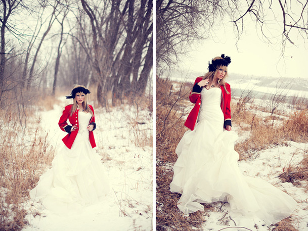 military red jacket black hairpiece bride scandinavian inspiration