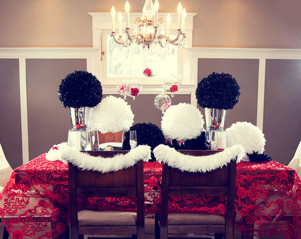red and black and white table decor
